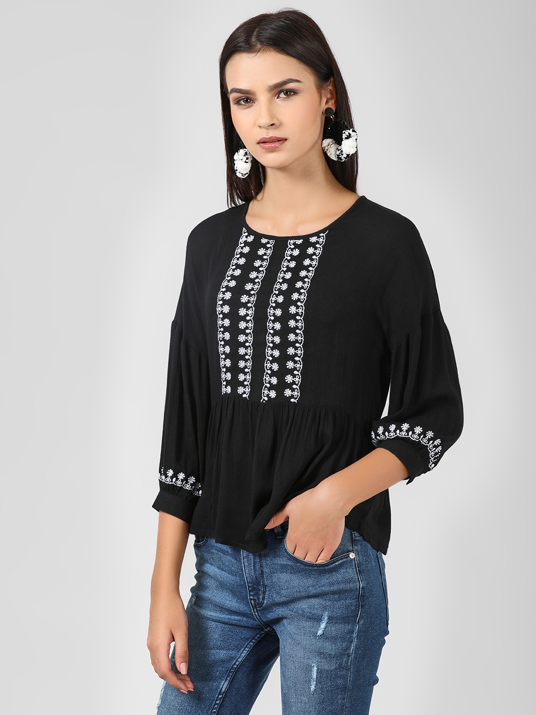 Sbuys Black Blouse With Embroidery 1