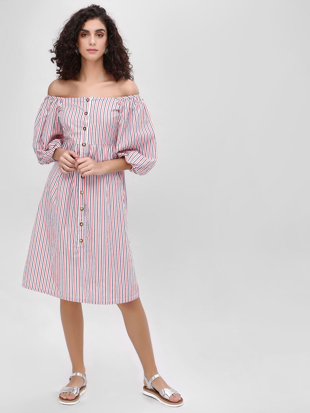Sbuys Multi Striped Button Off Shoulder Dress 1