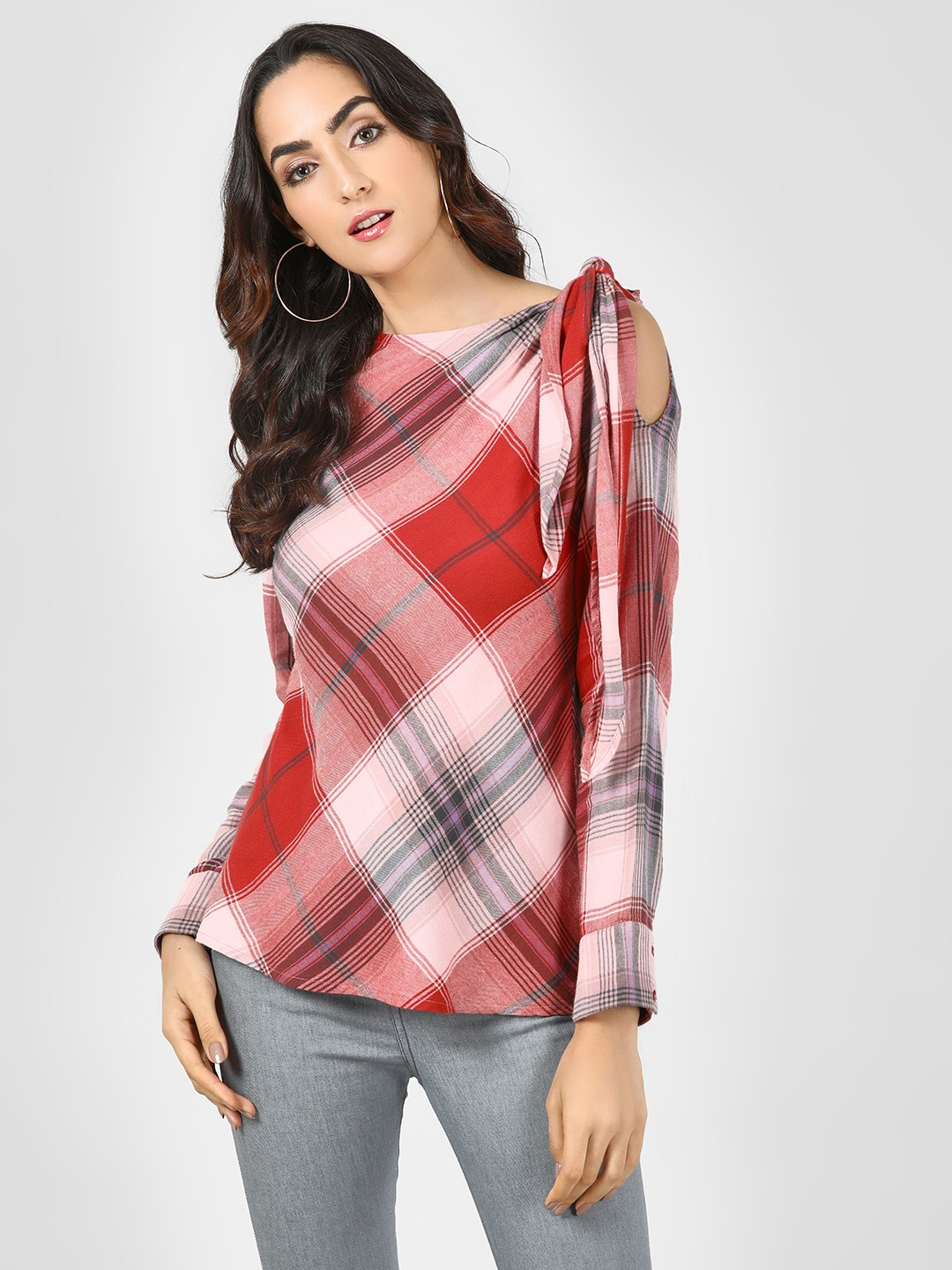 Sbuys Multi Shoulder Knot Multi-Check Top 1