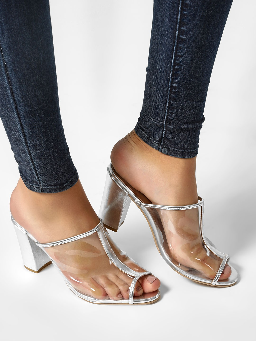 KOOVS Silver Clear Strap Heeled Sandals 1