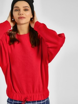 Bellfield Drawcord Hem Crop Sweatshirt
