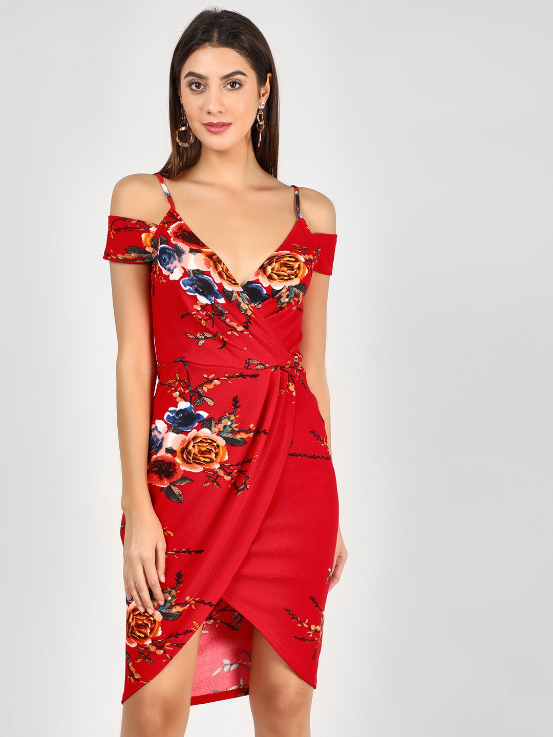 Ax Paris Red Floral Printed Cold Shoulder Dress 1