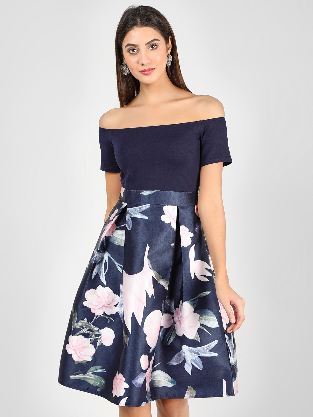 Ax Paris Navy 2-In-1 Floral Printed Skater Dress 1