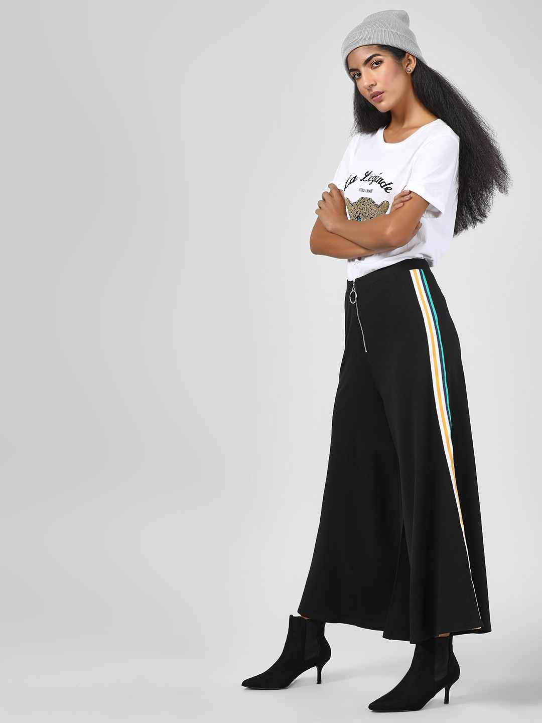 KOOVS Black Side Tape Flared Palazzo Pants 1