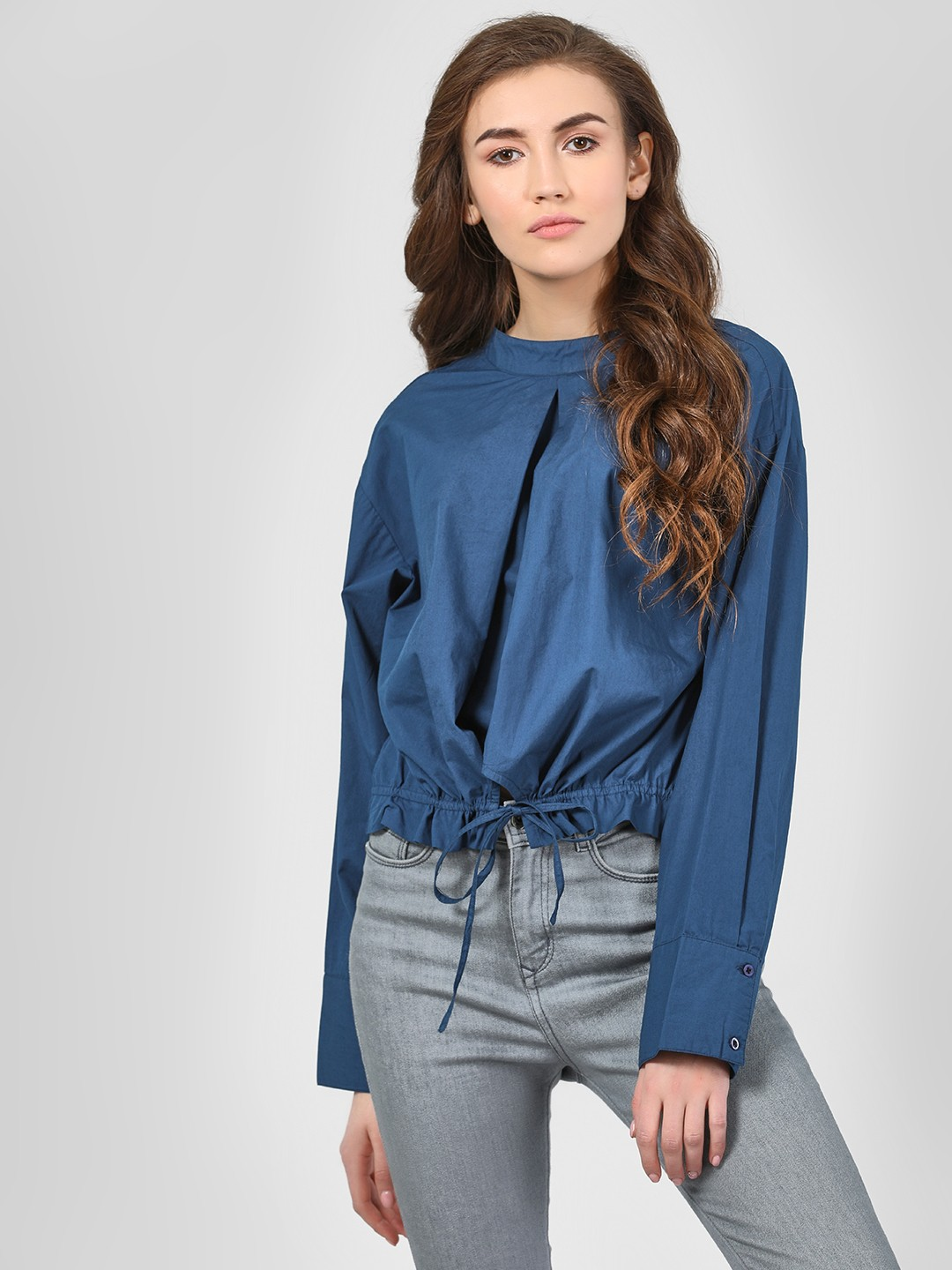 Beyond Clouds Blue Solid Poplin Blouse With Drawcord 1