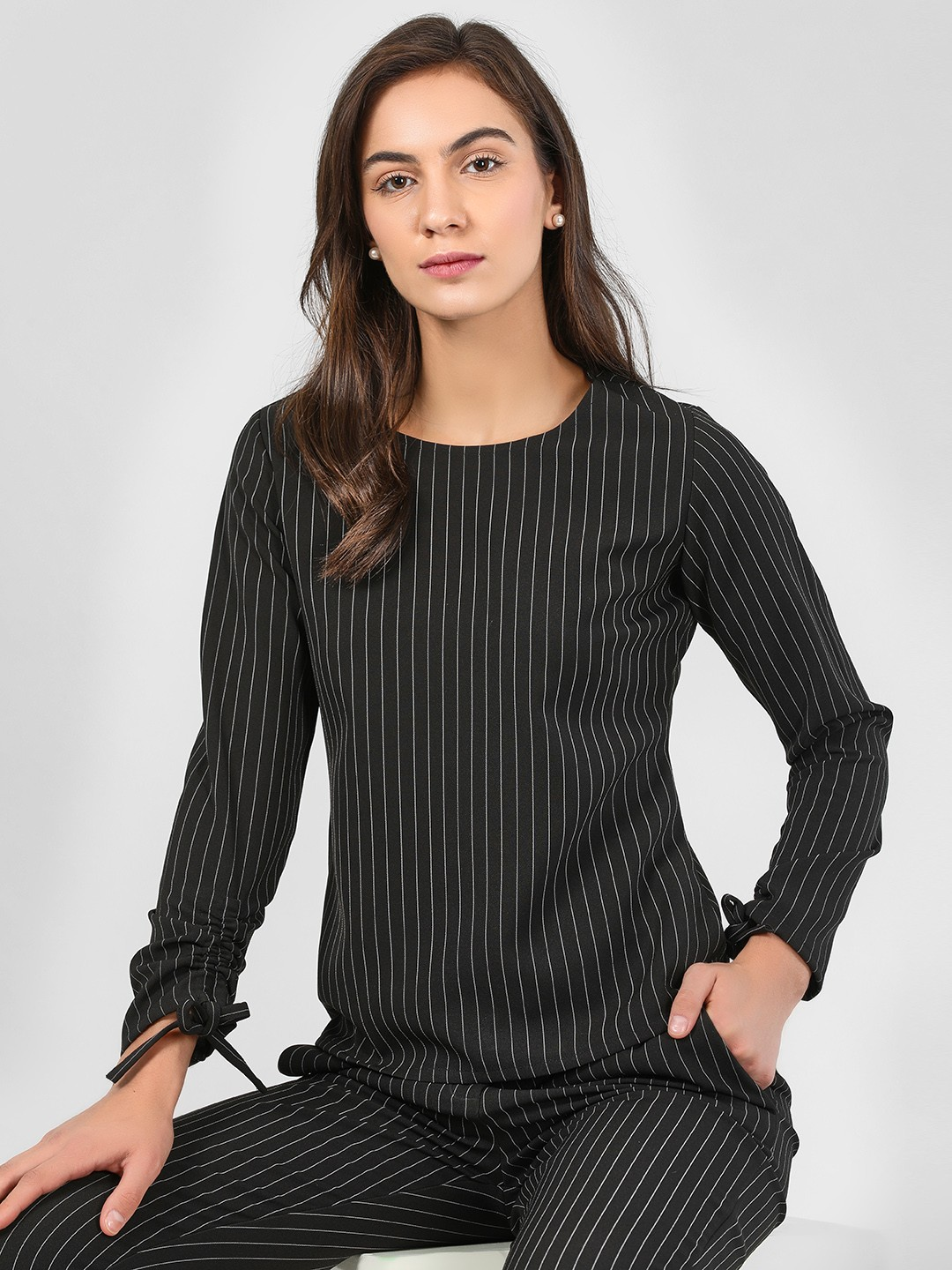 KOOVS Black Round Neck Vertical Stripe Top 1