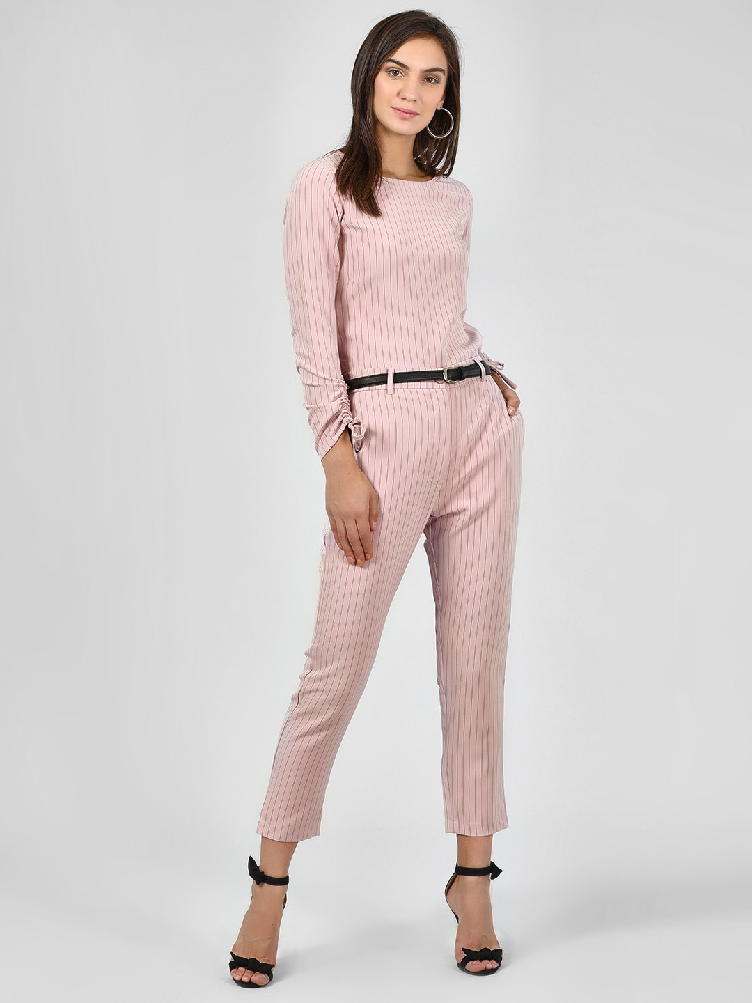 KOOVS Pink Striped Slim Fit Trousers 1