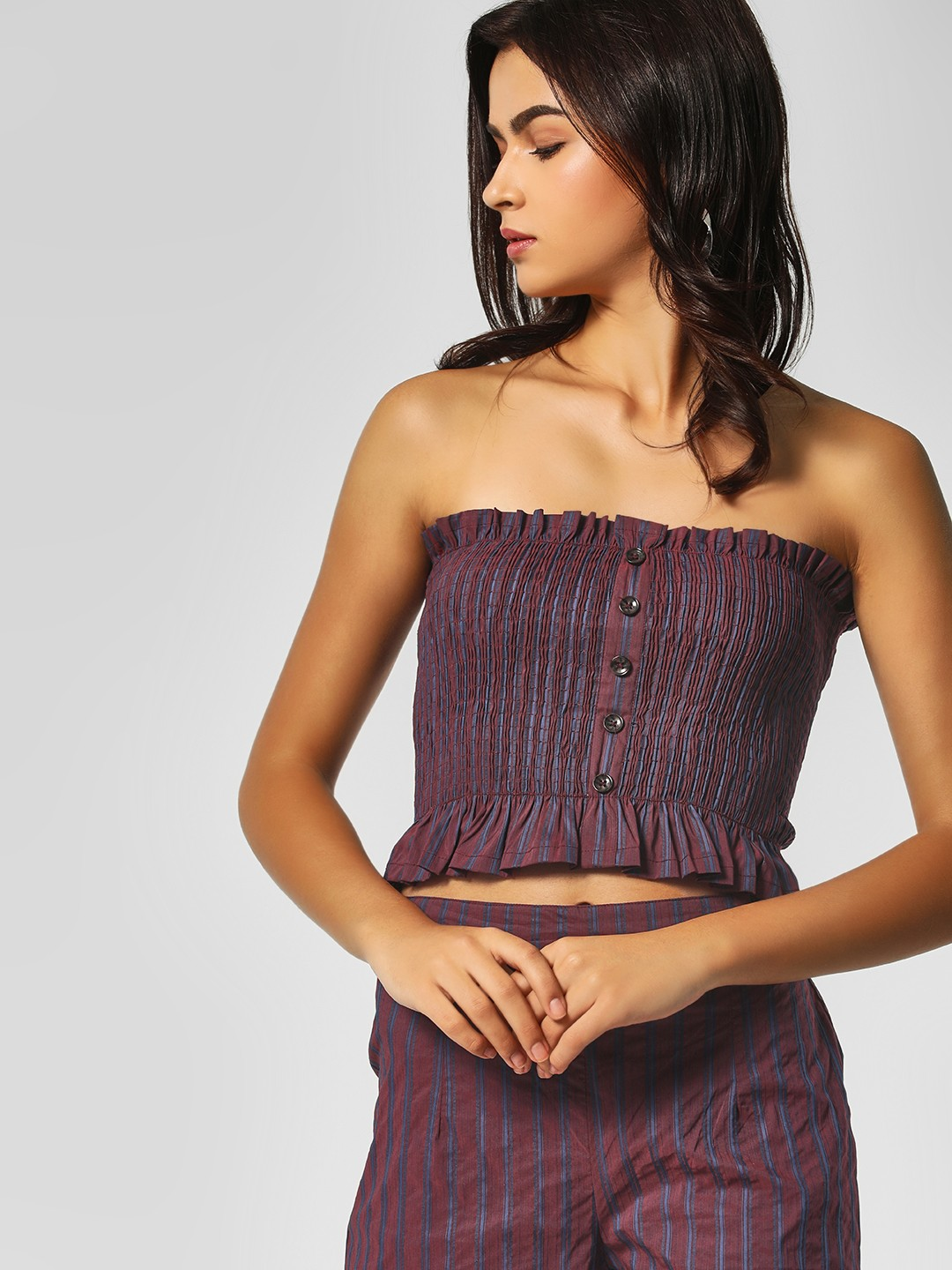 KOOVS Purple Striped Crop Bandeau Top 1