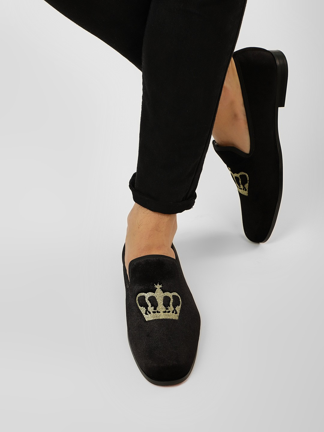 Griffin Black Velvet Embroidered Crown Loafers 1