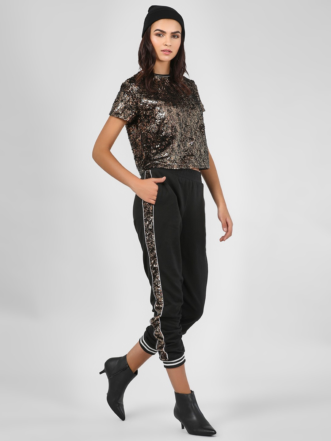 KOOVS Black Sequin Side Tape Joggers 1