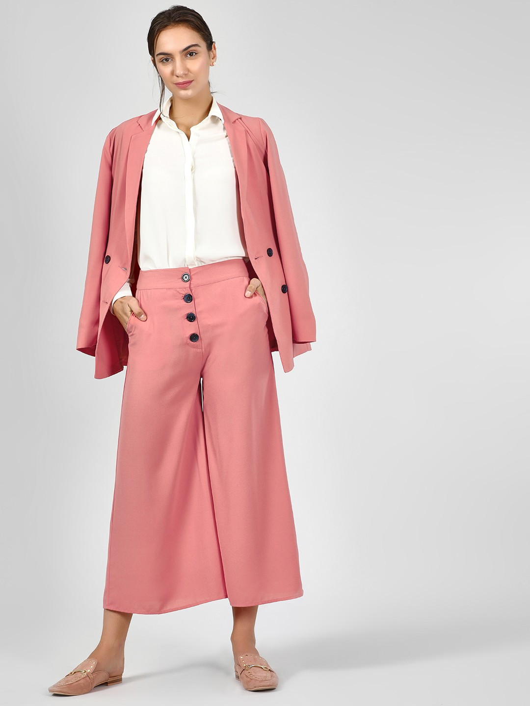 KOOVS Pink Button Detail Flared Culottes 1