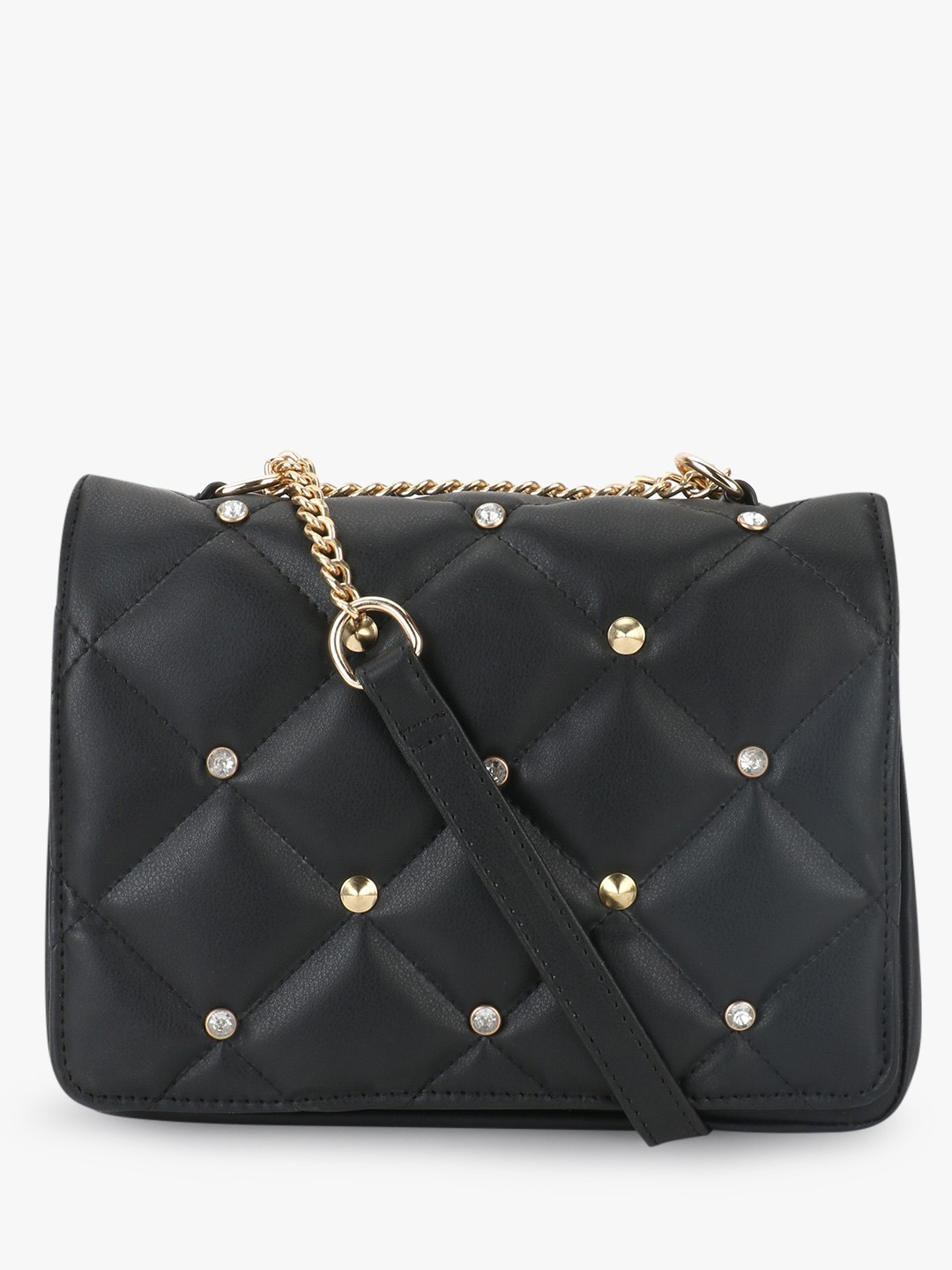 Paris Belle Black Slingbag With Cushion Detail And Studs 1