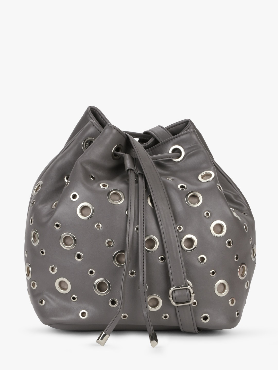 Paris Belle Grey/Silver Bucket Bag With Eyelet Detail 1