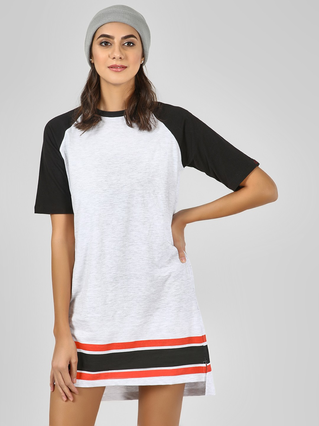 Cult Fiction White Raglan Sleeve T-Shirt Dress 1