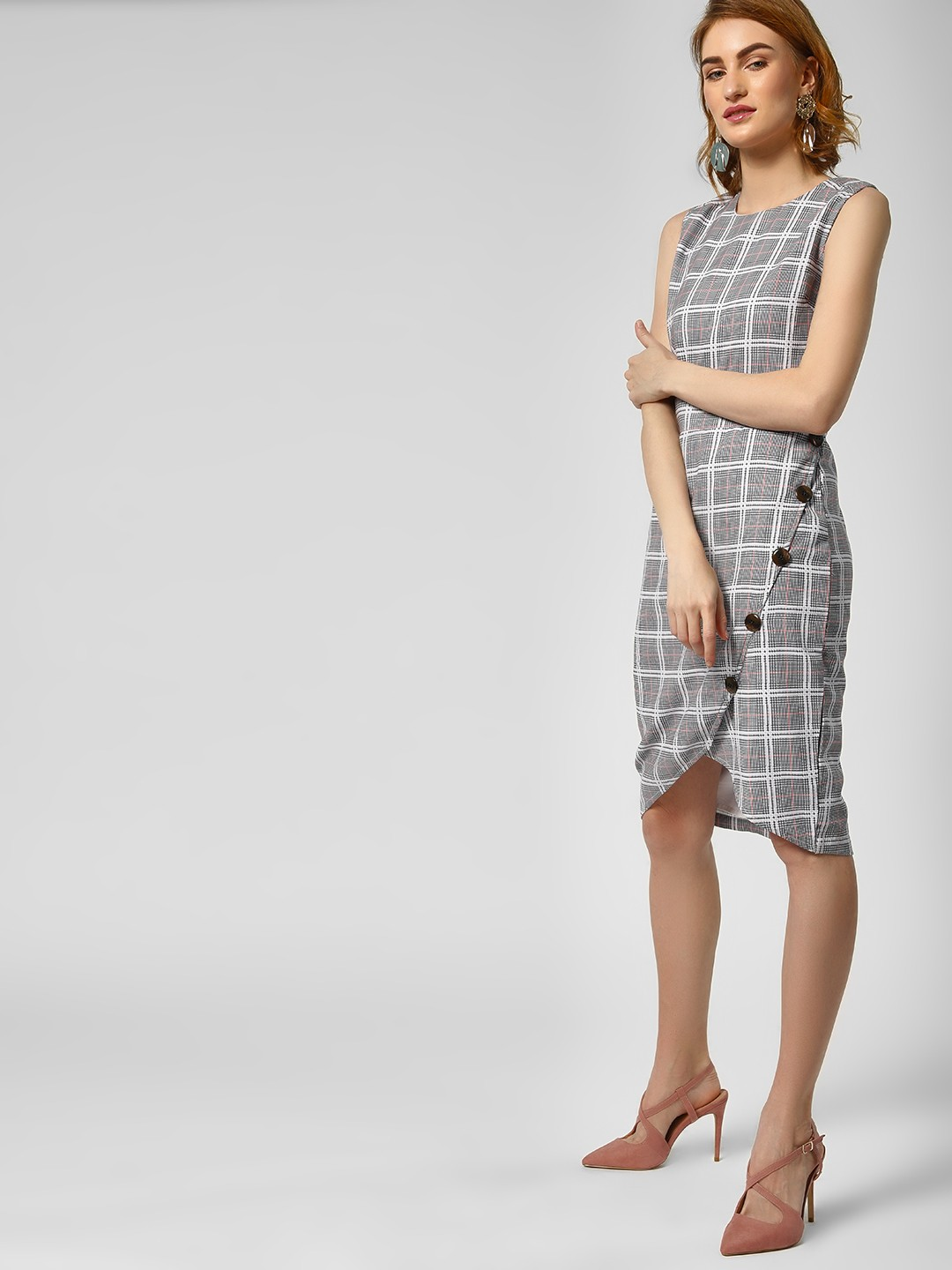 KOOVS Multi Check Print Shift Dress 1
