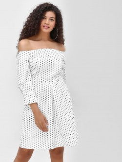Cover Story Polka Print Off Shoulder Dress