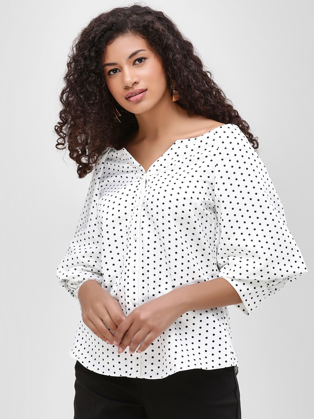 Cover Story White Off Shoulder Printed Shirt 1
