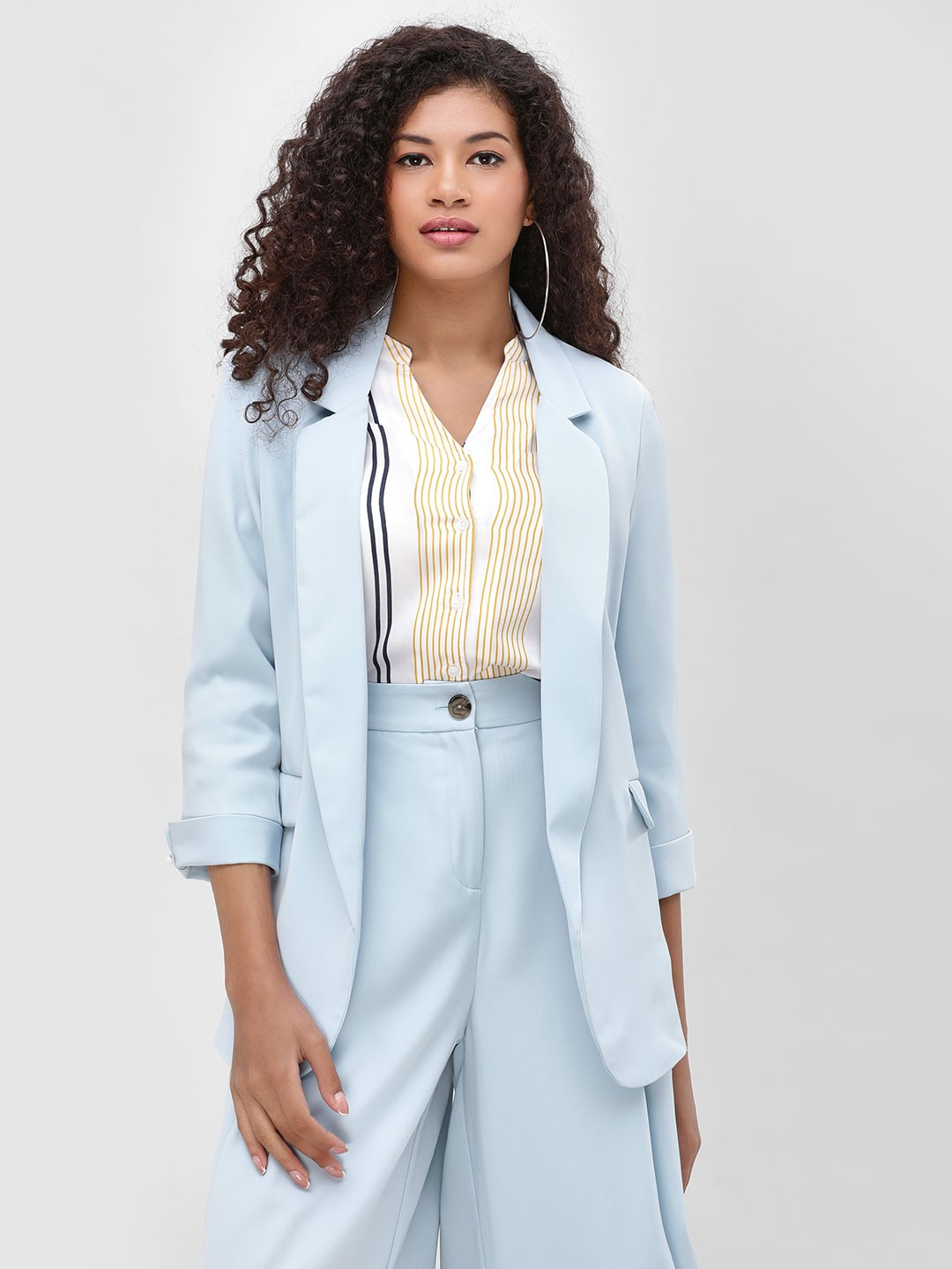 Cover Story Blue Lapel Collar Single Breasted Blazer 1