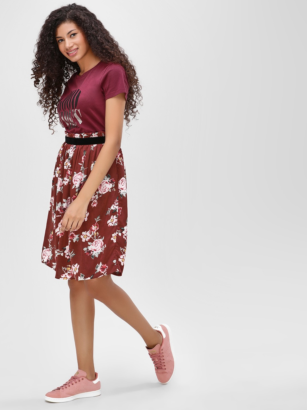 Cover Story Brown Floral High Waist Midi Skirt 1