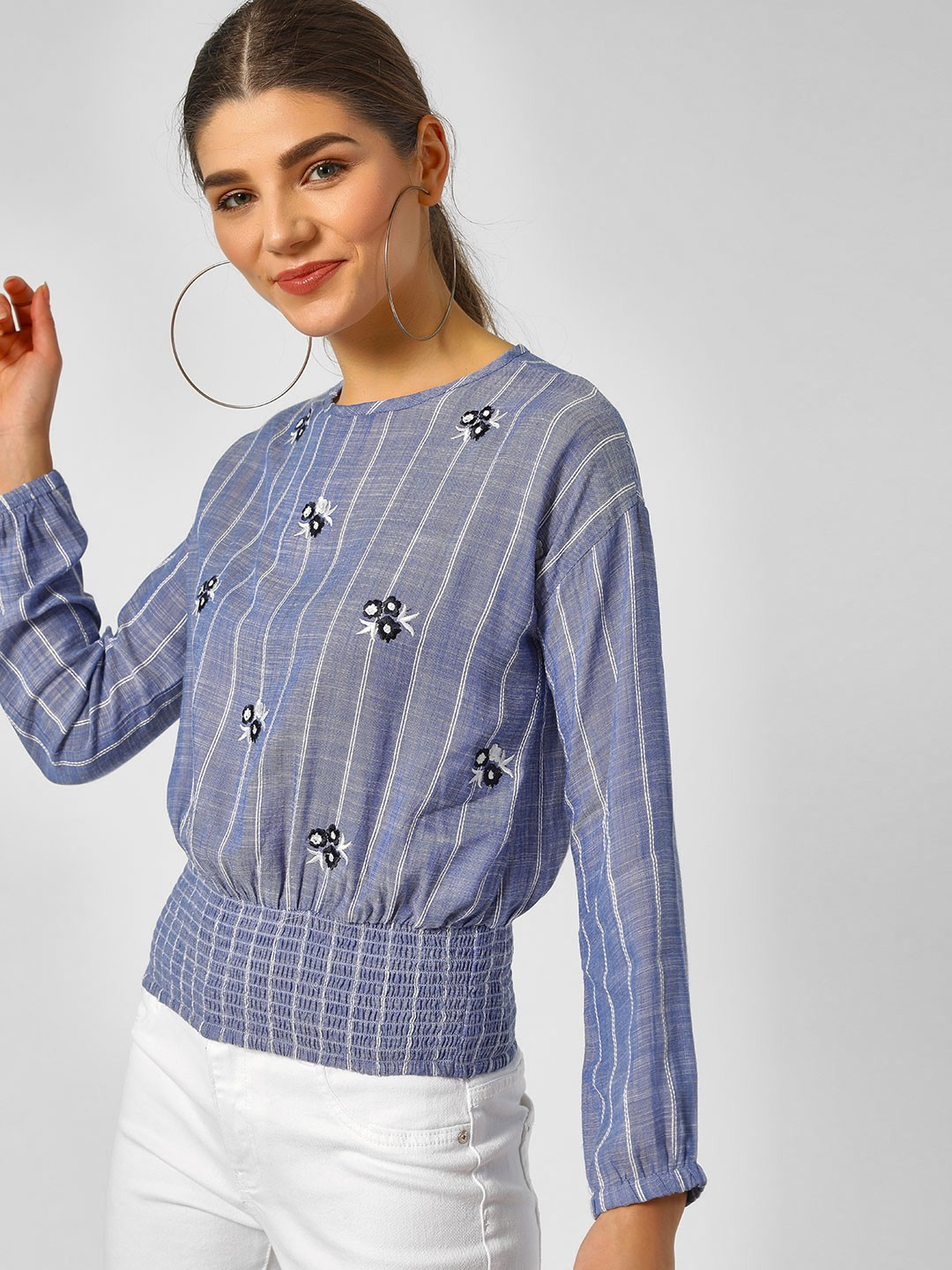 HEY Blue Striped Chambray Top With Elasticated Hem 1