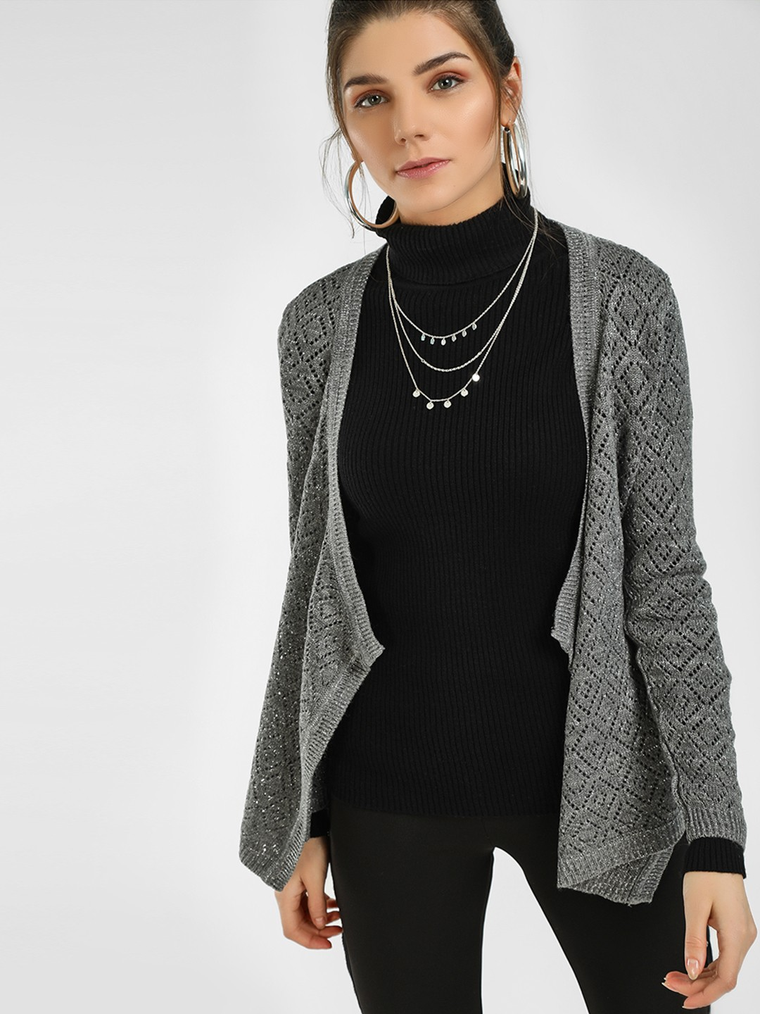 HEY Grey Woven Front Open Cardigan 1