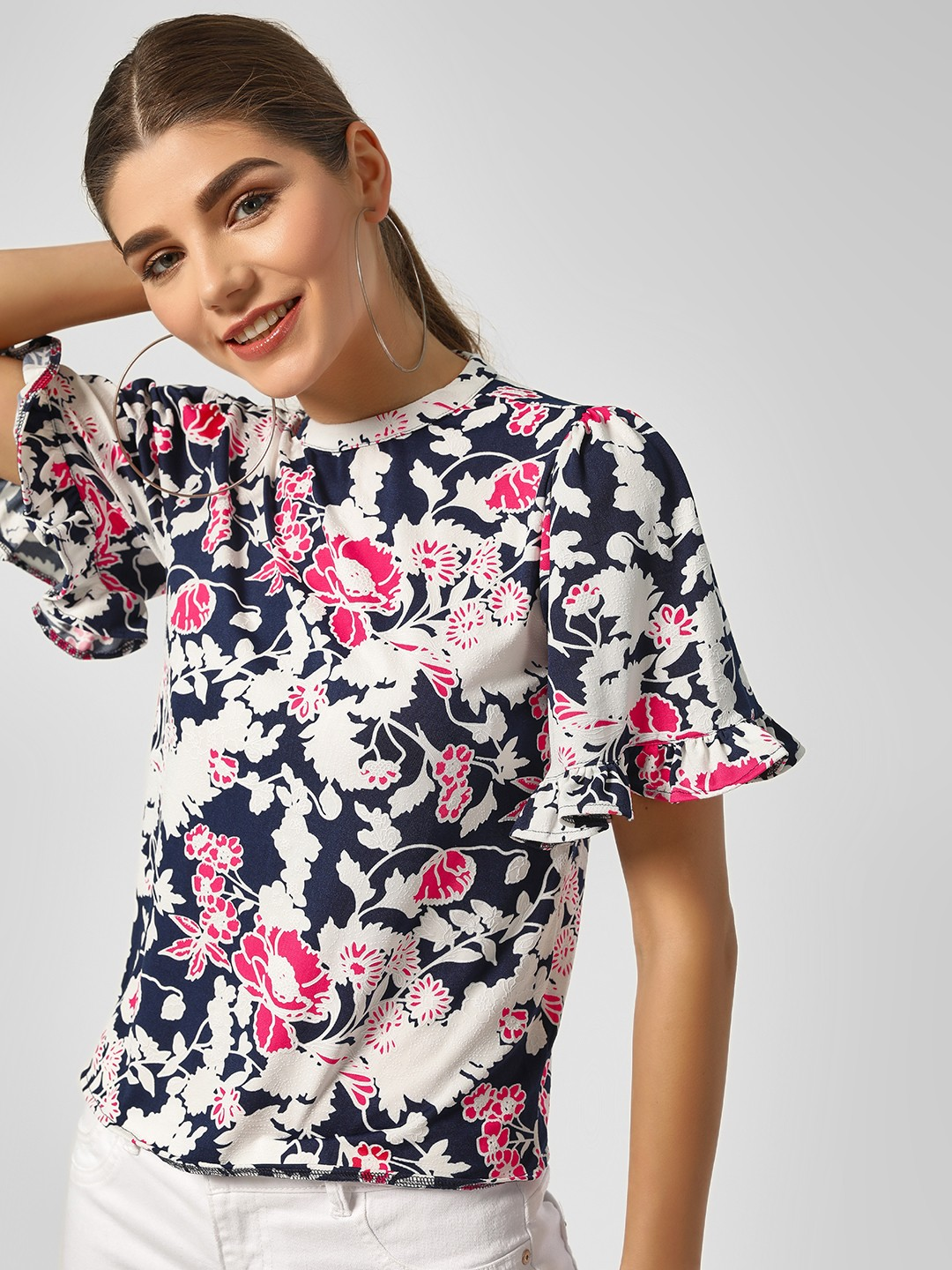 HEY Navy Floral Print Top With Ruffle Sleeve 1