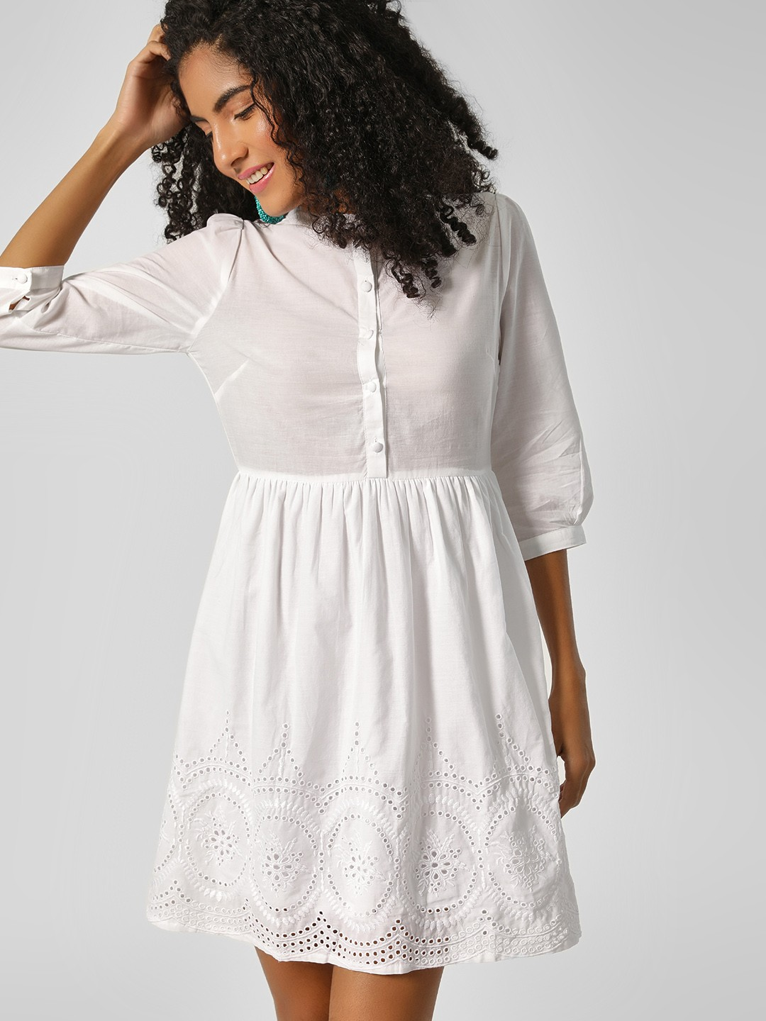 HEY White Broderie Hem Skater Dress 1