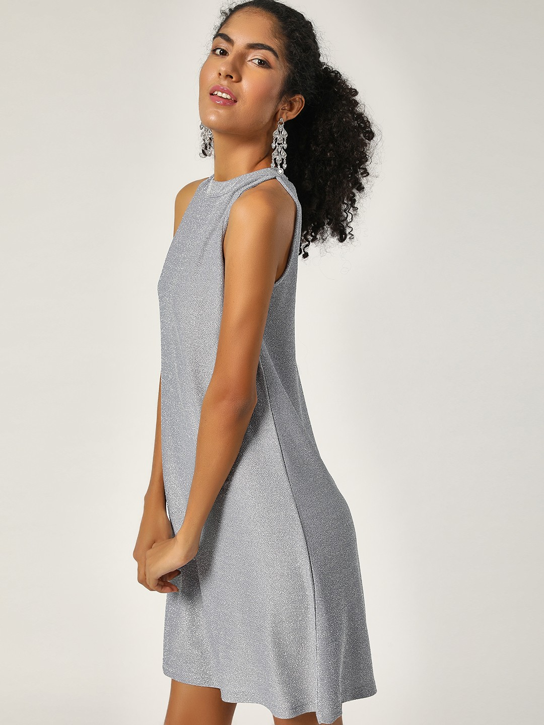 HEY Grey Shimmer Sleeveless Shift Dress 1