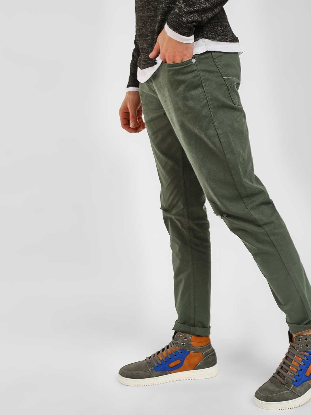 KOOVS Green Ripped Knee Slim Trousers 1