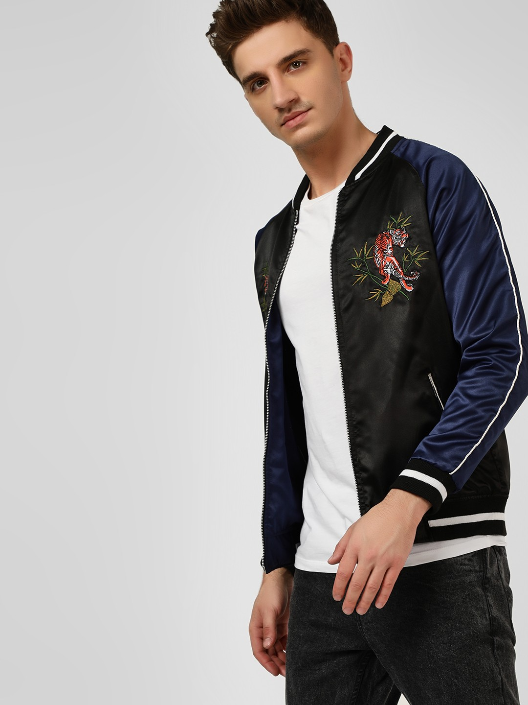 KOOVS Blue Embroidered Reversible Bomber Jacket 1