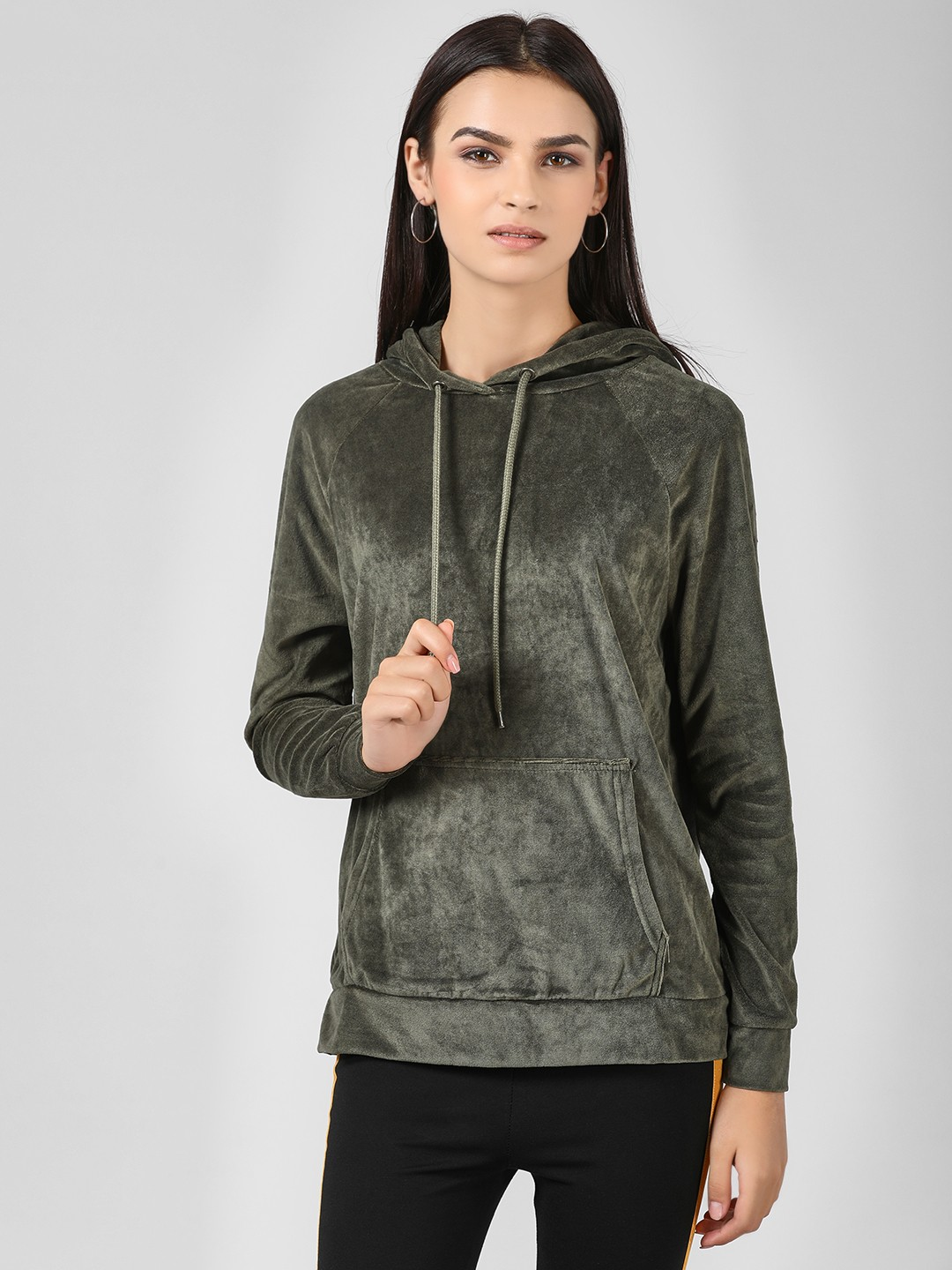 Brave Soul Green Velvet Hooded Sweatshirt 1