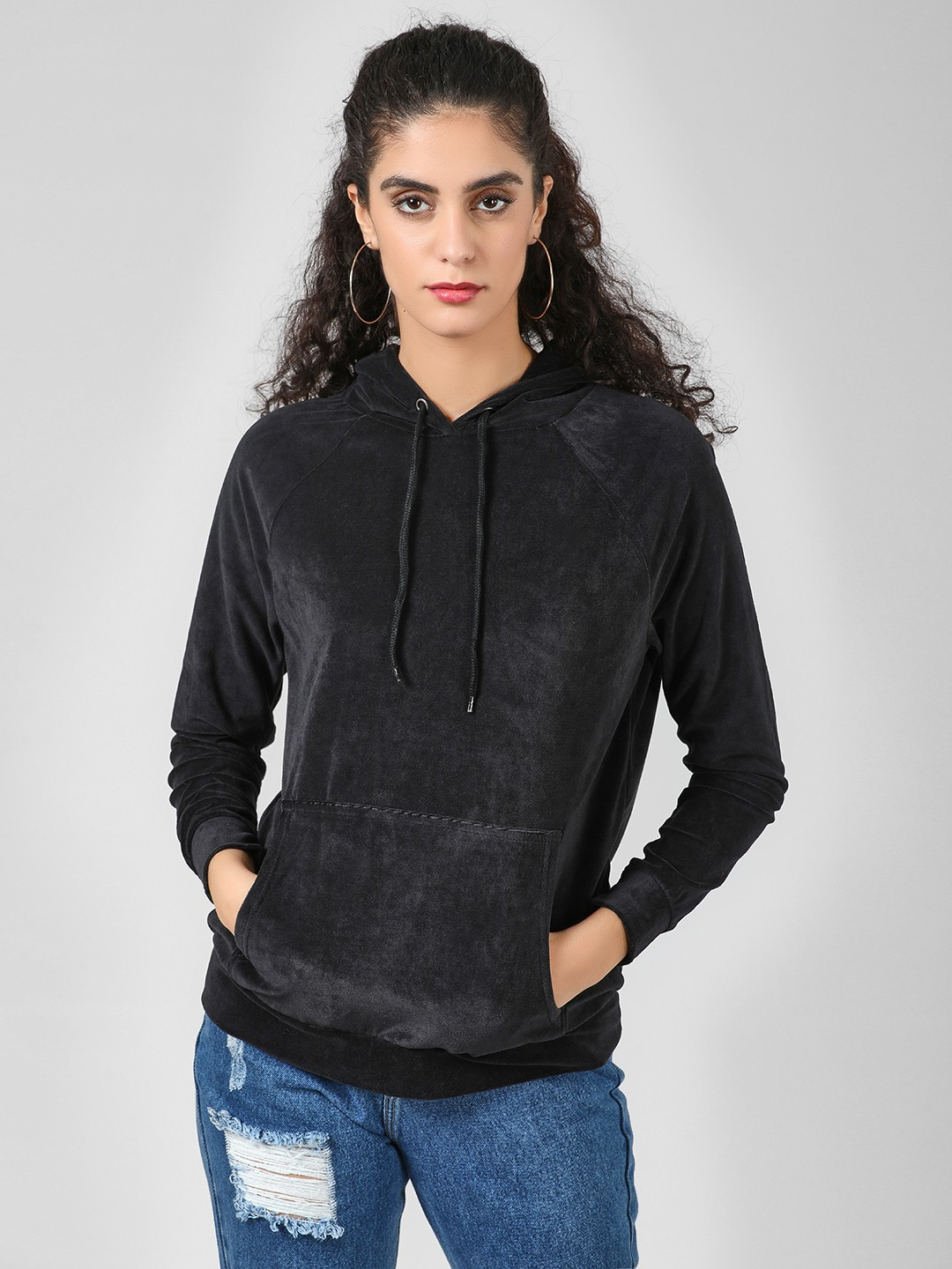 Brave Soul Black Velvet Hooded Sweatshirt 1