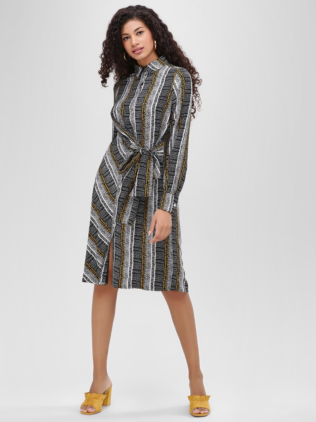 Cover Story Print Front-Knot Striped Shirt Dress 1