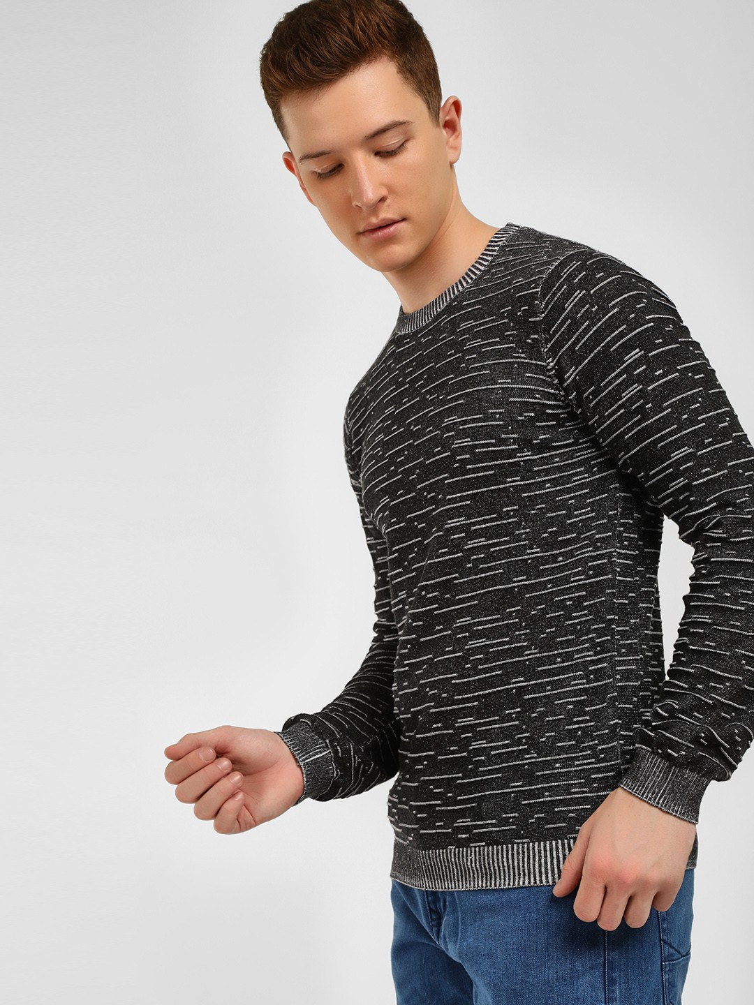 KOOVS Black Broken Stripe Jacquard Sweater 1