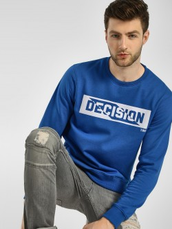 KOOVS Decision Time Slogan Print Fleece Sweatshirt