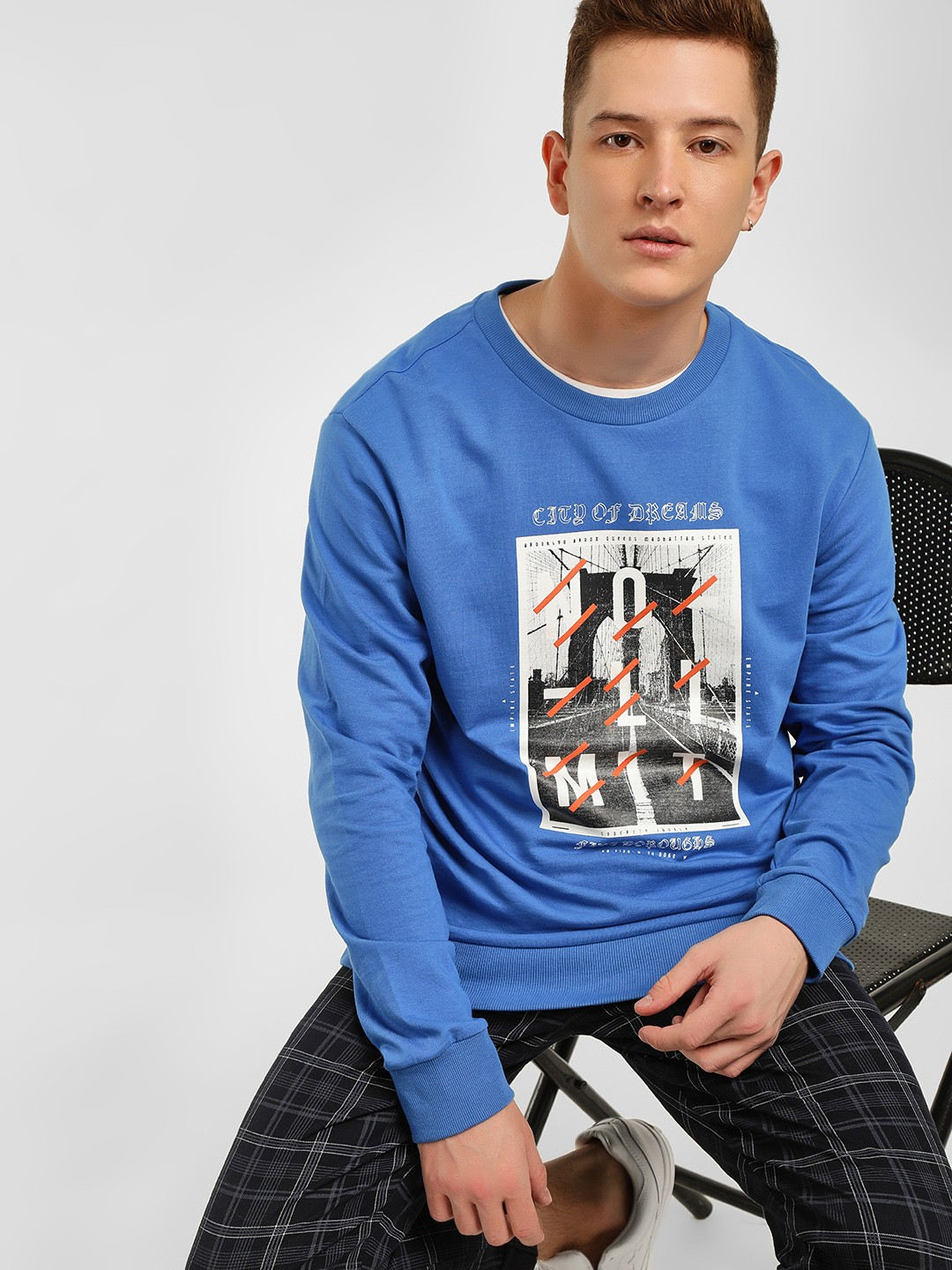KOOVS Blue Slogan Placement Print Sweatshirt 1
