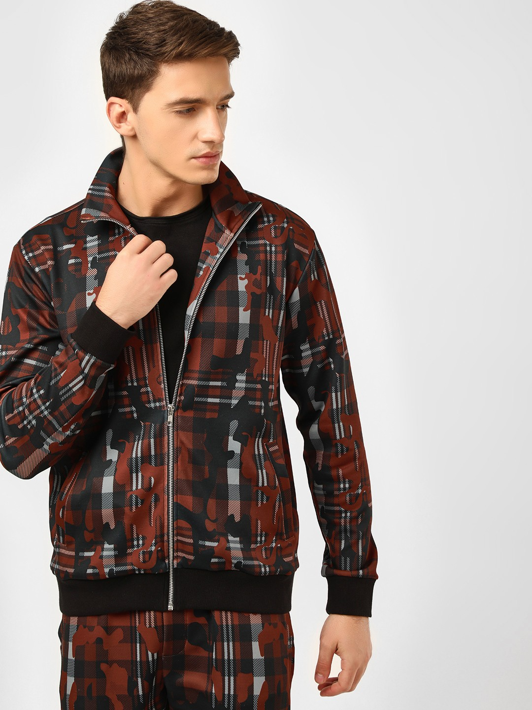 KOOVS Multi Camo Checkered Track Jacket 1