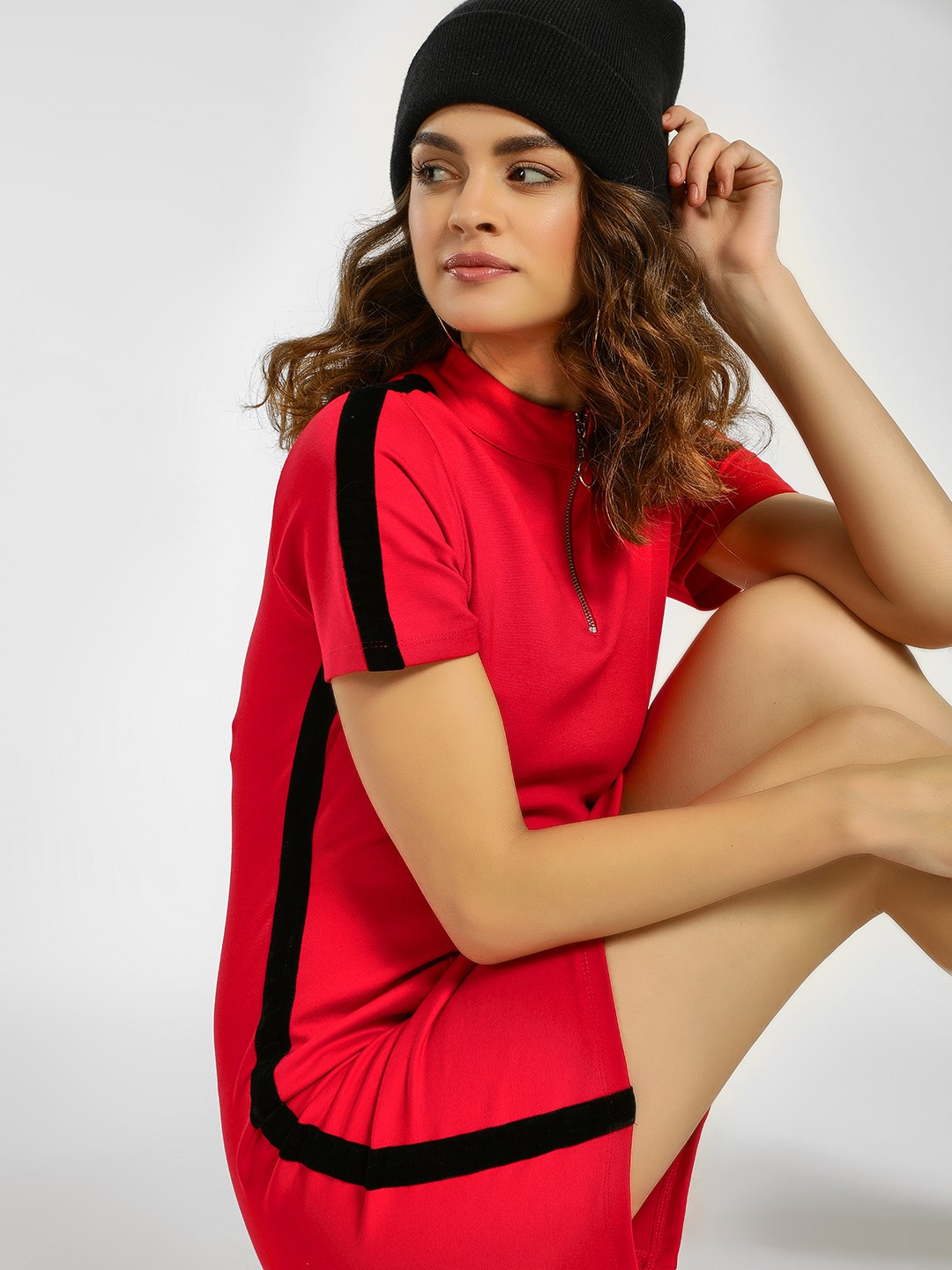 KOOVS Red Contrast Side Tape Shift Dress 1