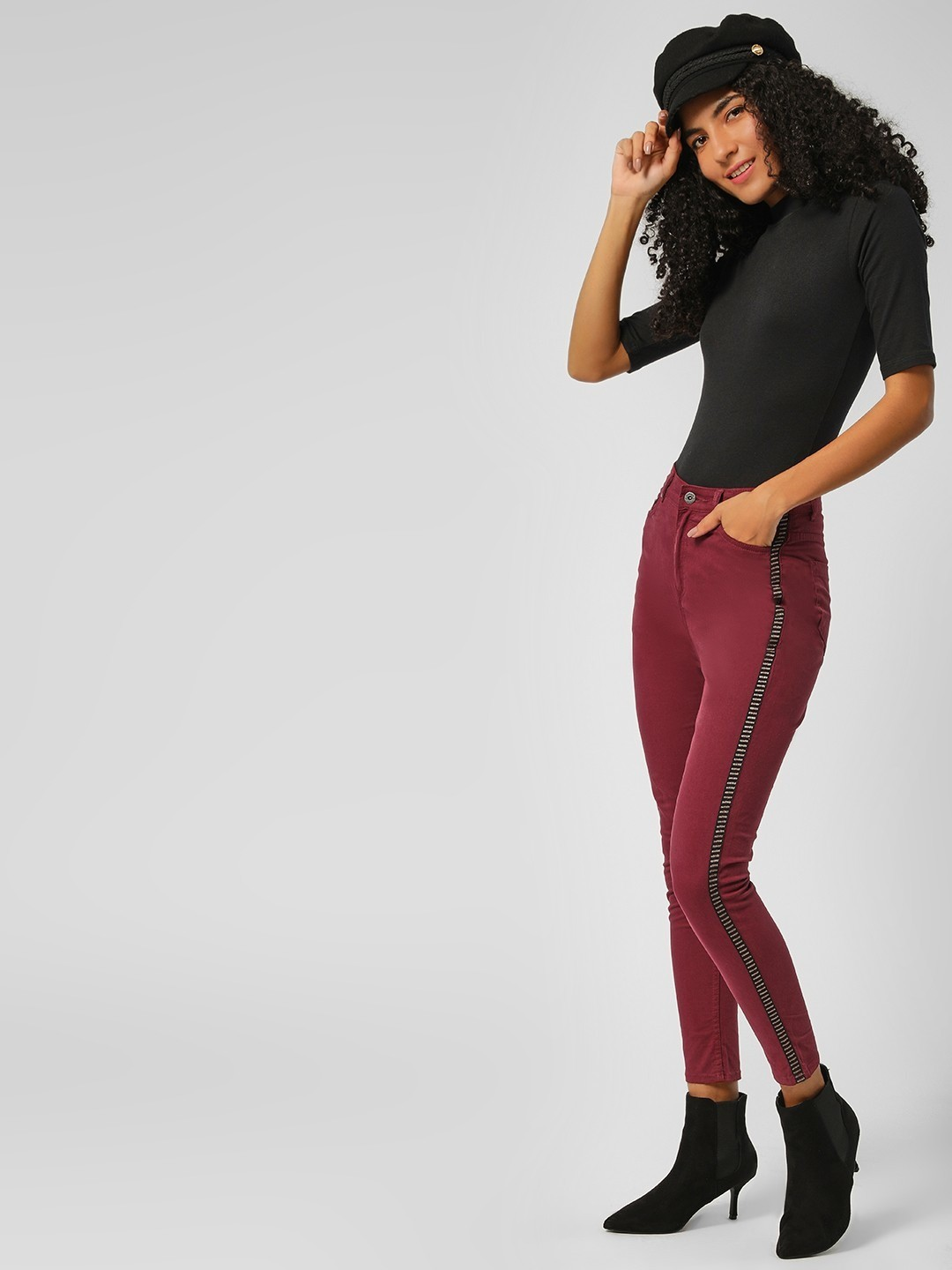 K Denim Maroon KOOVS  Side Tape Detail Skinny Jeans 1