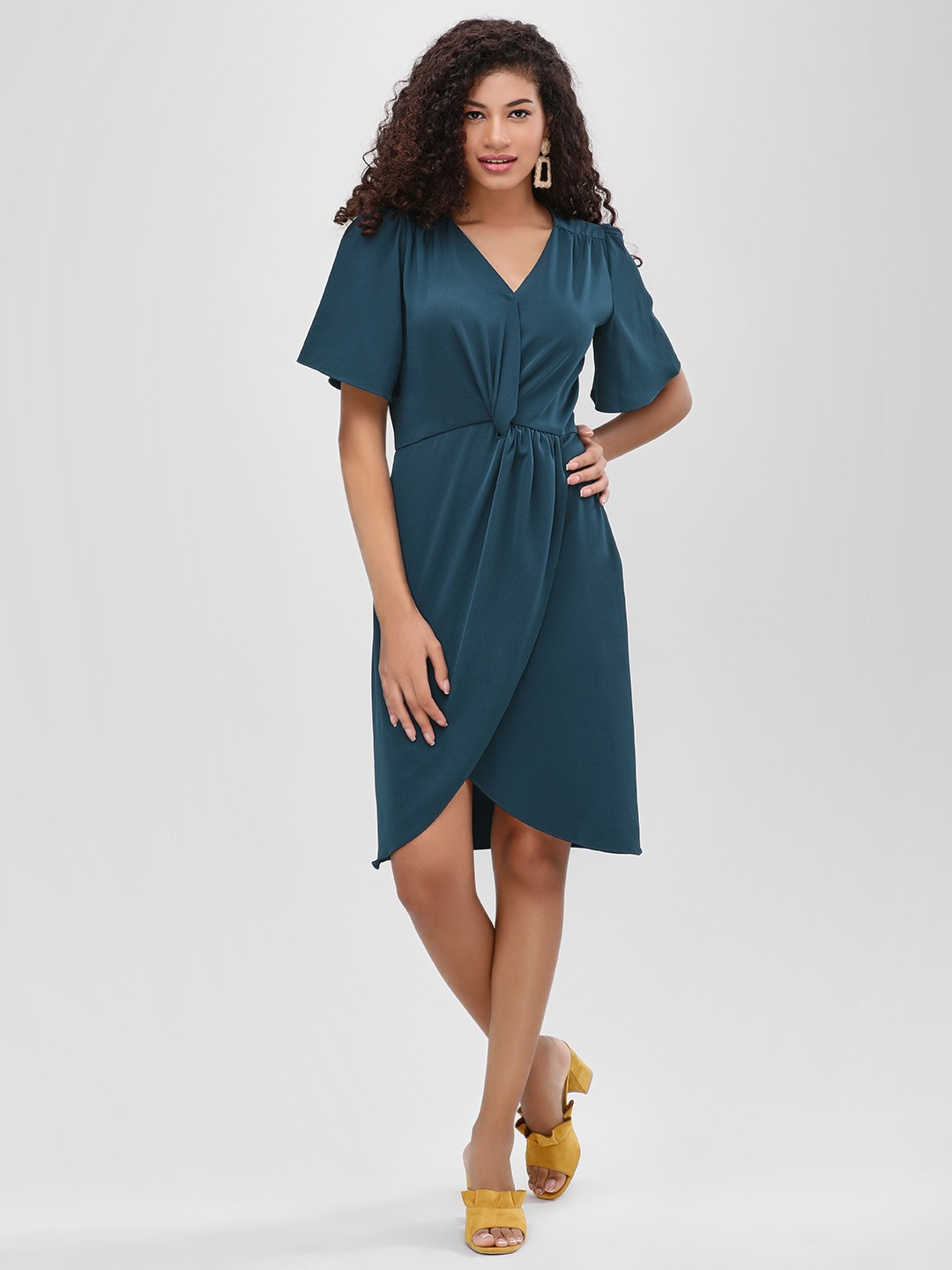 Cover Story Teal Knot Front Wrap Dress 1