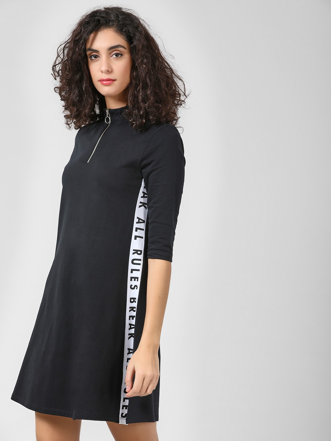 Beyond Clouds Black Slogan Print Shift Dress 1