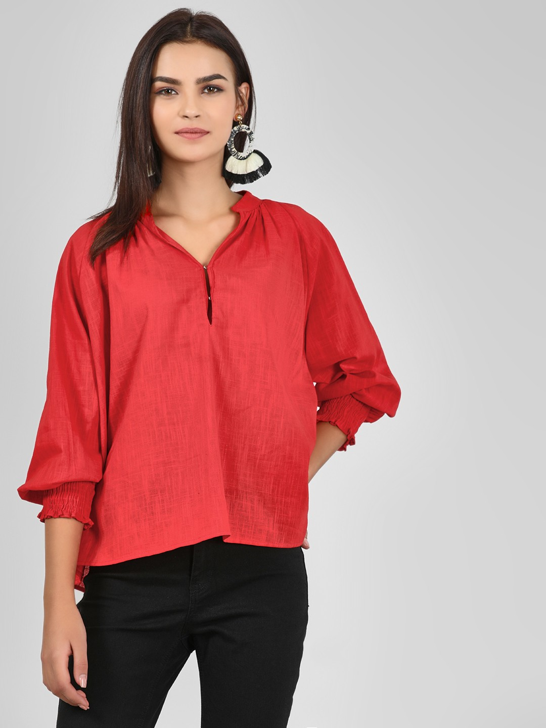 KOOVS Red Solid Cuffed Sleeve Blouse 1