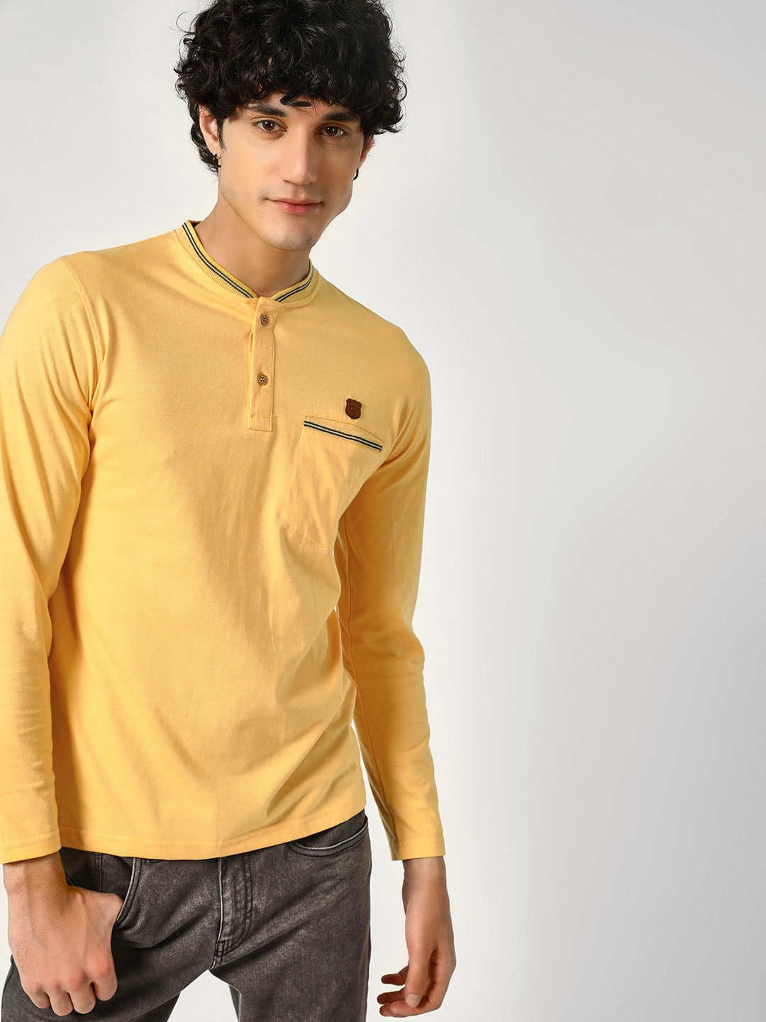 Blotch Yellow Pocket Tipping Henley T-Shirt 1