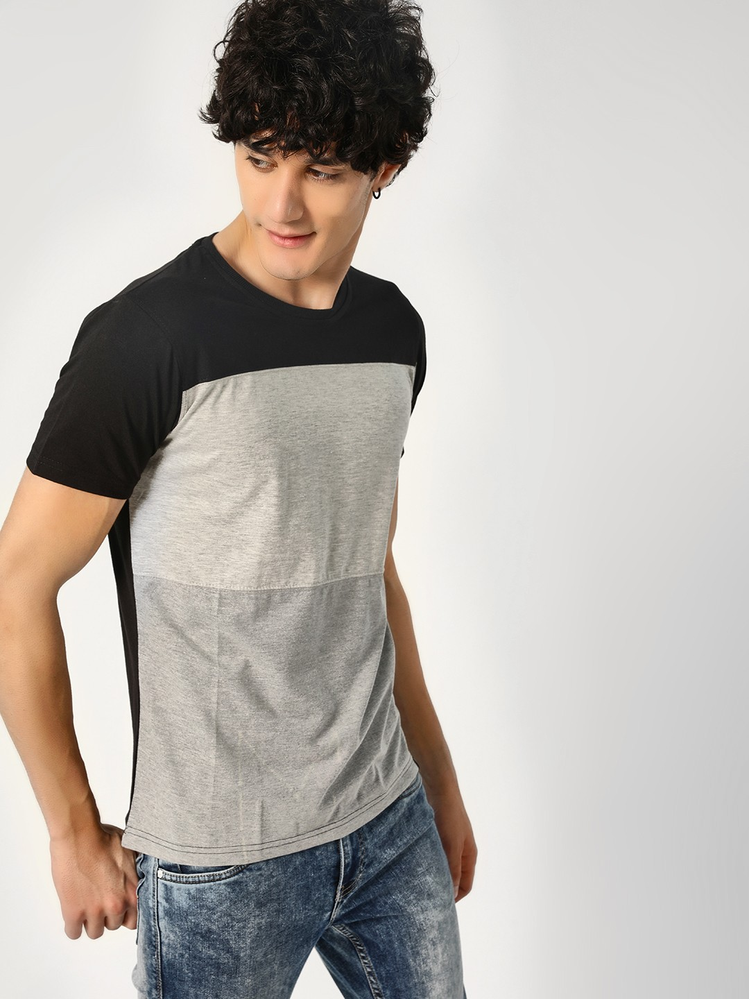 Blotch Grey Cut & Sew Colour Block T-Shirt 1