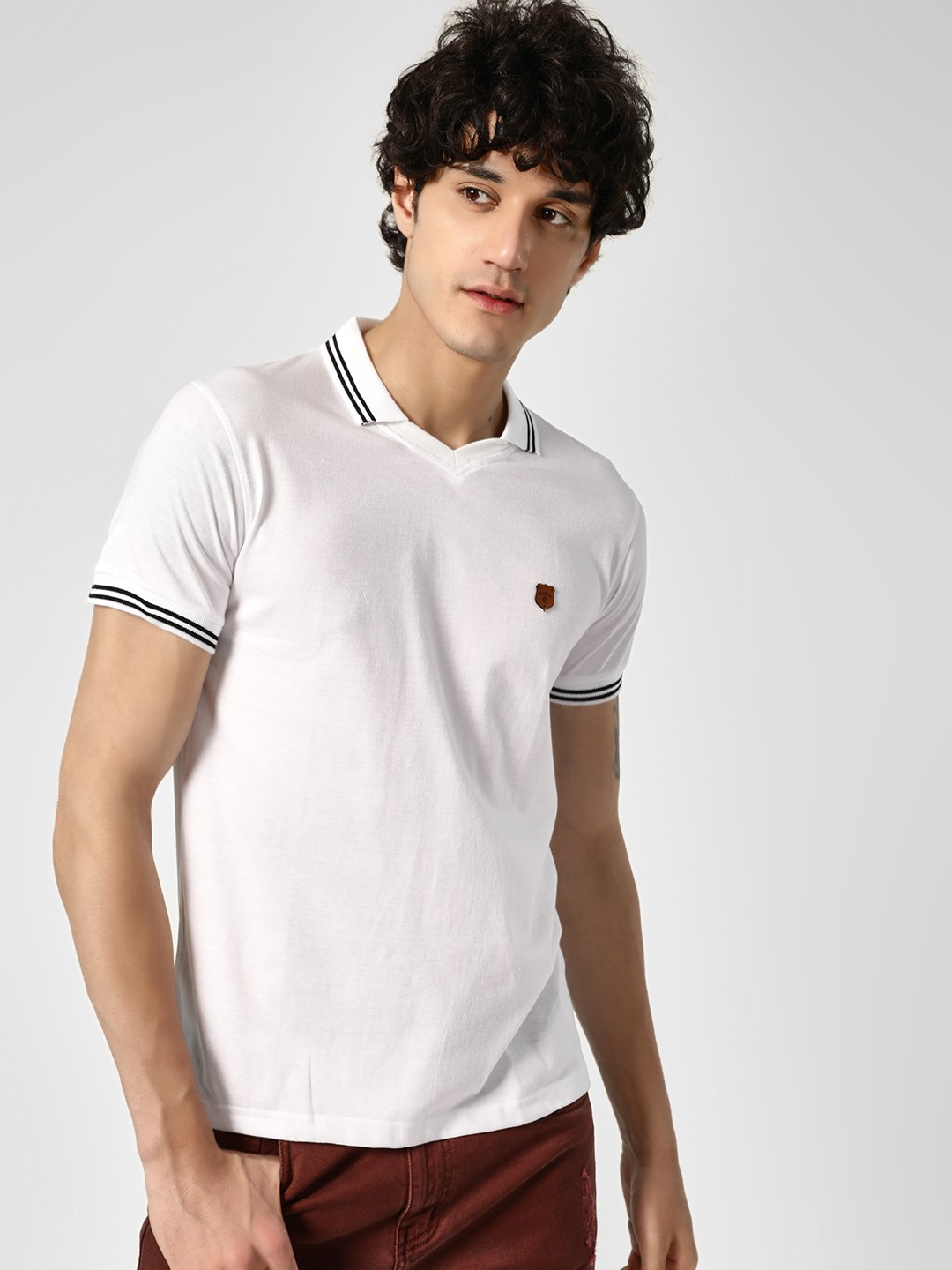 Blotch White Casual Polo T-Shirt 1