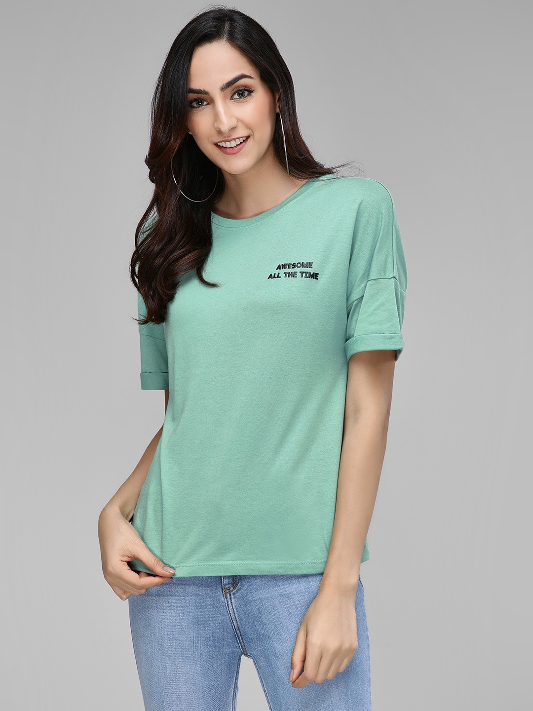 Only Green Slogan Printed Short Sleeve T-Shirt 1