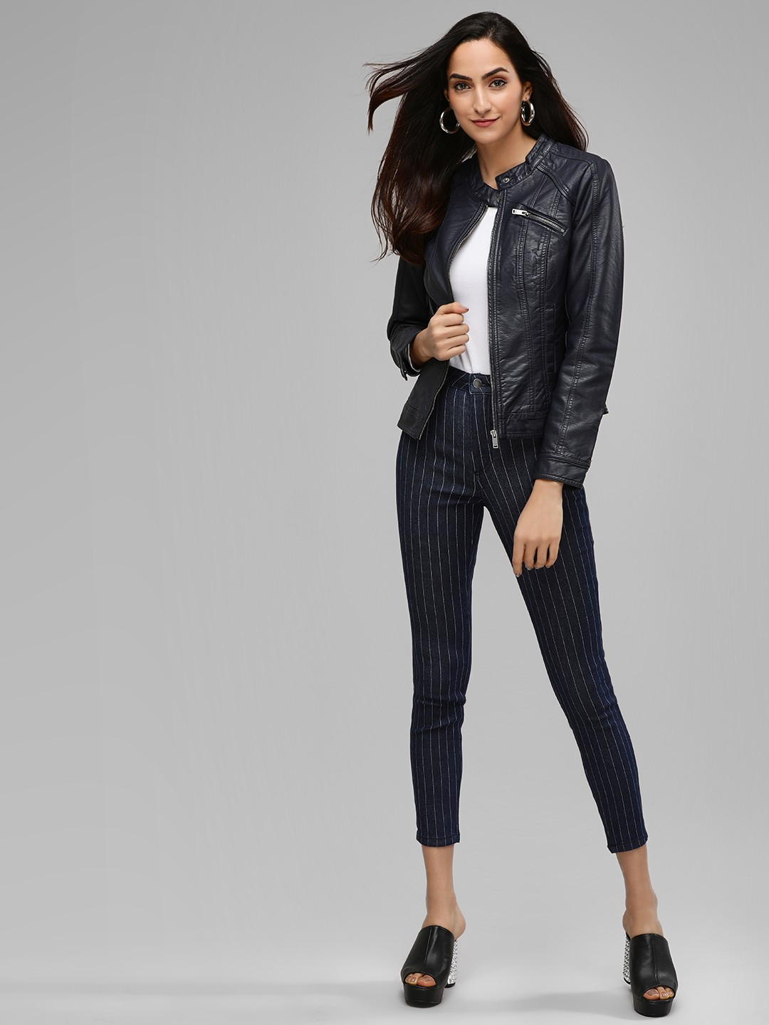 Only Blue Cropped Pinstripe Skinny Jeans 1