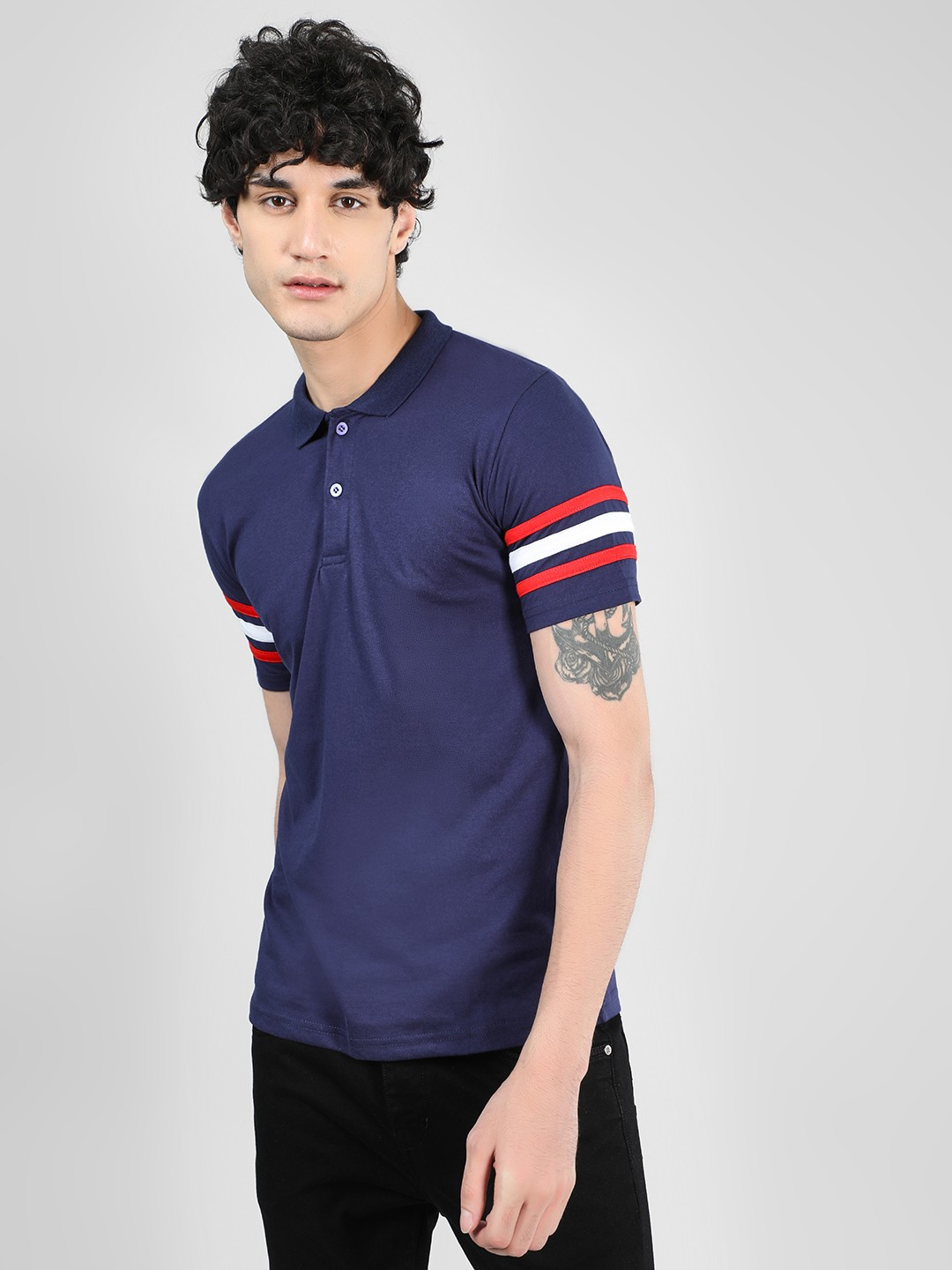 Blotch Navy Stripe Detail Polo T-Shirt 1