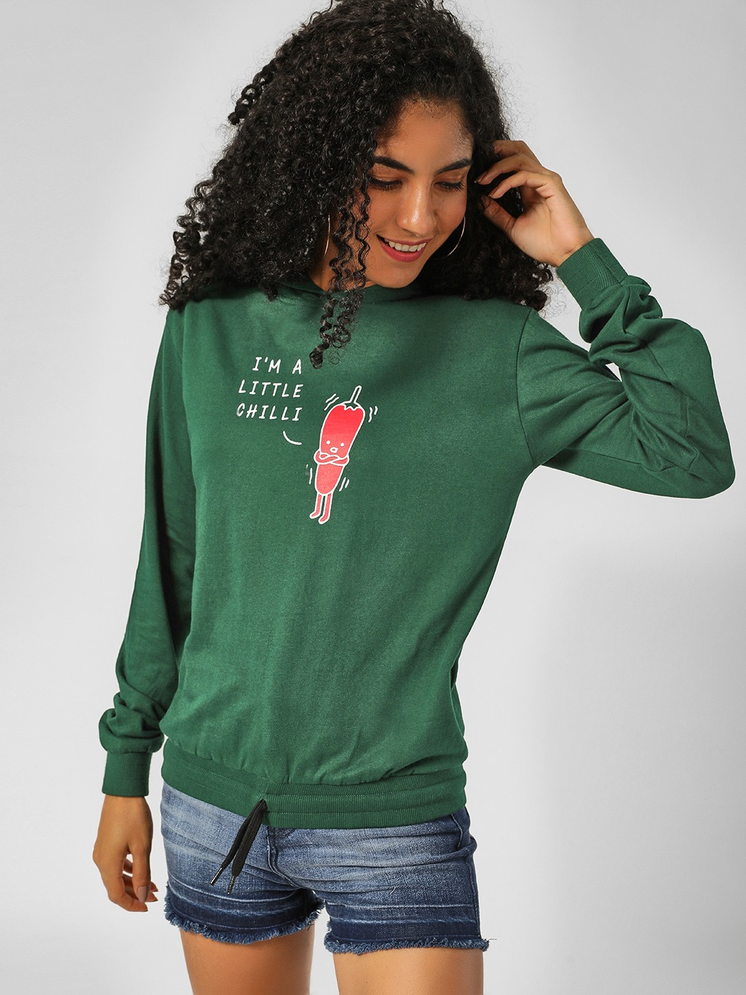 Spring Break Green Slogan Placement Print Hooded Sweatshirt 1