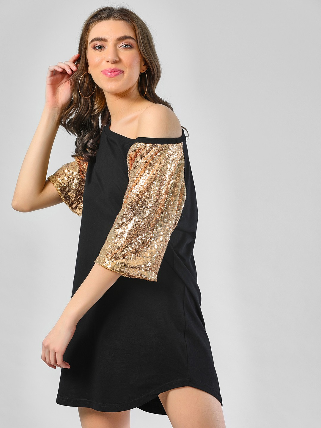 Spring Break Black Sequin Raglan Sleeves Shift Dress 1